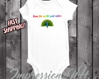 Peacock onesie - peacock baby bodysuit one-piece shirt, baby shower, new baby, bodysuit- show the world your colors - positive quotes
