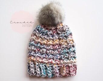 Crochet Beanie Pattern, Crochet Hat Pattern, Cheriton Hat Pattern, Chunky Crochet Toque Pattern
