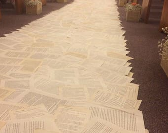 50' Wedding Aisle Runner, literary wedding, book page aisle runner, engagement, anniversary, bridal shower