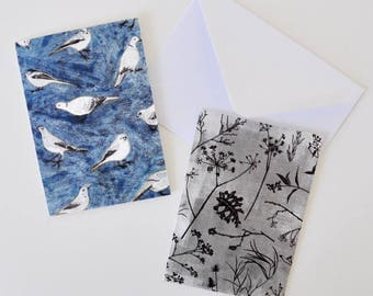 Set of 2 Blue and Monochrome Flora and Fauna Greeting Cards for Lovers of Birds and Plants