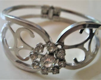 Silver Rhinestone Cuff Bracelet Front Opening Floral Design Inch Wide Spring Opening and Closing Statement Bracelet Wedding Attire Gift