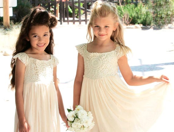 Mia Dress- Ivory Crochet Flower Girl Dress, Beige / Cream Crochet Rustic Dress, Bohemian Boho Romantic Flower girl Dress,Country flower girl