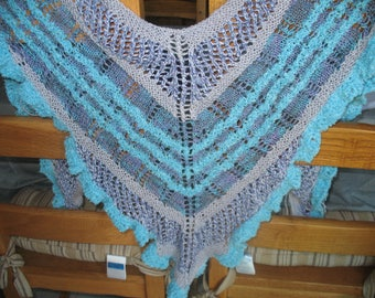 SHAWL knitted in purple blue color