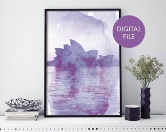 Sydney Opera House Watercolour Print Wall Art | Print At Home | Digital Download File