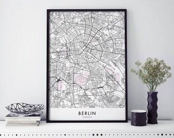 Berlin, Germany Art, City Map Print Wall Art | A4 A3 A2