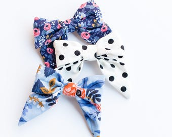 Set of 3 Hair Bows, Rifle Paper Co, Pink and Blue Floral, White and black dots, on Alligator Clips, Girls Hair Bows