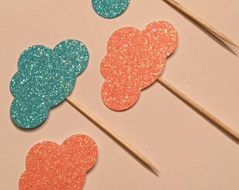 12 Cloud Toppers Glitter Toppers Gender Reveal Toppers Pink Blue Cloud Toppers Baby Toppers Baby Shower Toppers Birthday Toppers