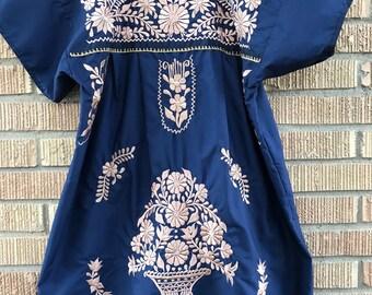 Mexican Dress, Puebla Mini Dress, Medium and Large Puebla Dress