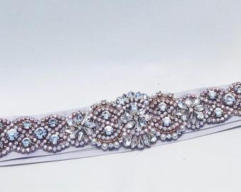 Rose gold Wedding belt, wedding belt, sash, wedding dress belt,rose gold appliqué, wedding accessories, bridal accessories, rose gold