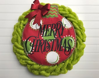 Green Deco Mesh Christmas Wreath with Burlap Sign