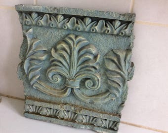 Vintage Plaque, Composite Stone and Cement Heavy Large Carved Piece, Indoor or Outdoor