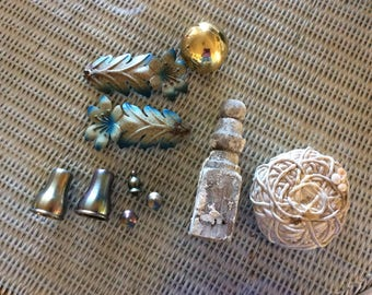 Vintage and Antique Salvage Lot, Brass, Metal, Beach Found Coiled Cord, Wood Finial