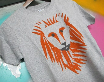 Screen printed Lion Kids T-shirt by Anna Bird