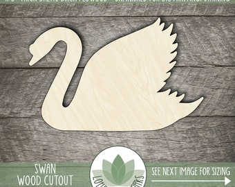 Wood Swan Cutout, Wooden Laser Cut Swan Shape, Unfinished Wood For DIY Projects, Many Size Options, Wood Bird Shape, Swan Wall Decor