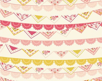 Riley Blake Designs Vintage Daydream-Banner In Cream by Design By Dani Cotton Fabric Sold
