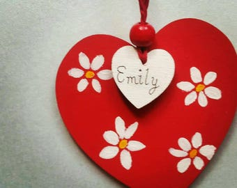 Hanging heart - red heart - hanging decoration- white daisy  - heart decoration - personalised heart - wooden heart - painted flower