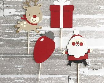 24 Christmas Cupcake Toppers