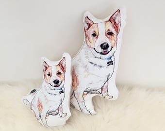 Plush dog - Red heeler, Australian cattle dog, baby rattle. dog pillow, cattle dog gift, custom pet pillow, dog lover gift, pet loss gifts