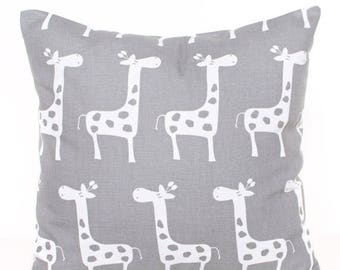 SALE ENDS SOON Gray Giraffe Decorative Pillow, Giraffe Pillow Cover, Gray Nursery Decor, Modern Baby, Zoo Print Pillow, Boys Room Decor