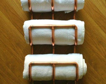 Copper, Triple Towel Rack, Copper Bathroom Towel Rail, Towel Storage, Towel Holder, Towel Stacker, Hairdressers Towel Store, Towel Rack UK