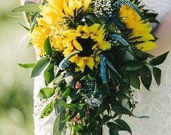 Cascading Sunflower Bridal Bouquet