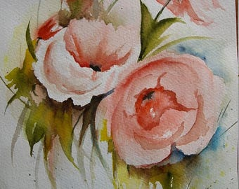 Unique watercolor, made by me, in 25 x 19, ARCHES paper, roses