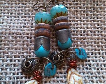 Bohemian and bronze Pearl Earrings