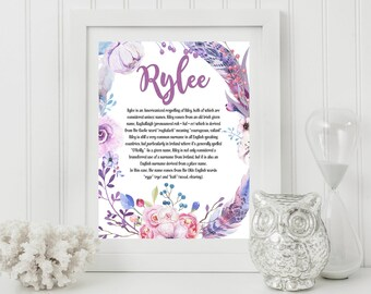 Custom Name Personalized Art Print With Meaning Of Name,baby Shower  Gift,nursery Art