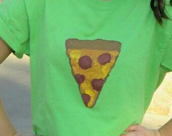 Pizza tee shirt hand painted