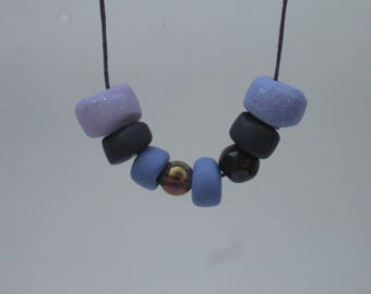 Handmade Plum and Lilac Gradient Polymer Clay Necklace