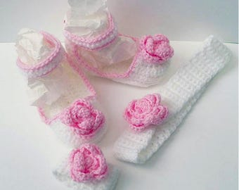 Crocheted Shoes, Headband & Corsage | 3 Piece Baby Set with Rose Detail | Handmade | Bespoke | Made to Order