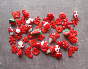 60 buttons as animals Fruit flower red