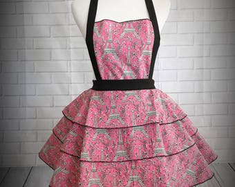 Pink and black Eiffel Tower retro pinup apron // Pink and black Paris themed apron // bridal shower gift // hostess gift