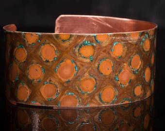 Copper bangle / cuff with dragonscale patterned patina