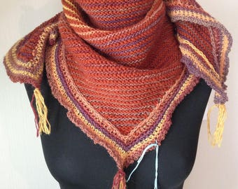 scarf / pure wool, Brown and multicolored stripes, knitting plus crochet