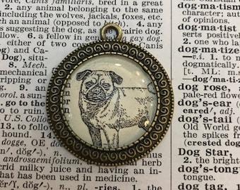 Handmade Vintage Dictionary Dog Necklace - Pug