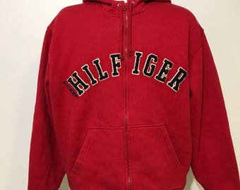 Vintage Tommy Hilfiger Spell Out Zip Up Hoodie L