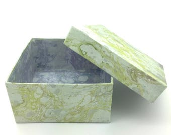 Delicate grey and green hand marbled paper box with gentle bluegrey lining