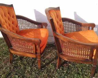 2 Great Lewittes NC Chairs Vintage Mid Century Cane Hollywood Regency Tufted Tall Back