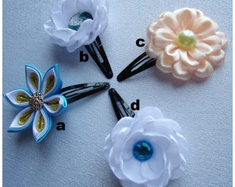 Kanzashi flowers hair clip/Satin flower hair clip for little girls/Satin ribbon hair clip/Hair accessory for children