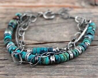 turquoise silver bracelet, multi strand bracelet, handmade chain bracelet