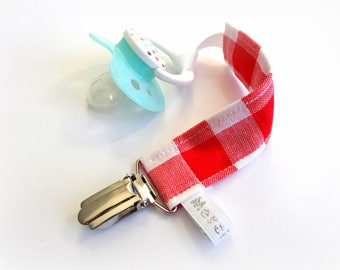 Pacifier baby fabric, red and white gingham pattern