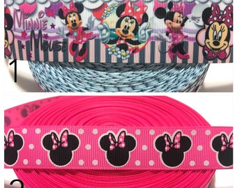 Minnie Mouse Ribbon, Minnie Mouse Party Ribbon, Disney Minnie Ribbon, Disney Ribbon, Minnie Ribbon, Minnie Mouse Grosgrain Ribbon