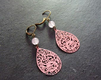 Earrings pink Jade Teardrop filigree ღ ღ Jade colored beads