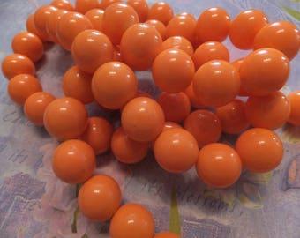 ORANGE x 8 POP 12 mm glass beads