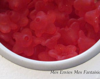 10 pearls, Cup flower lucite 10 x 5mm Red