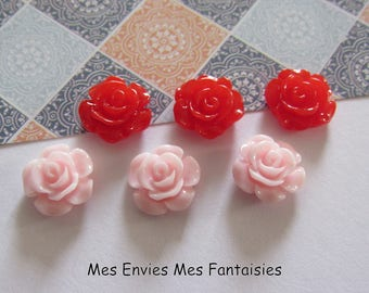 6 cabochons resin flowers 12mm base 10mm about pink and Red R26