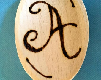 "Wood Burnt ""Letter"" Cooking Spoon"