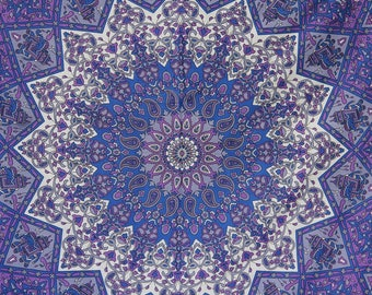 Star Mandala fabric - Colors include purple and more - College, dorm, wall hanging elephant tapestry boho