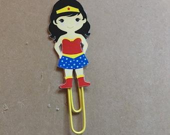 Wonder woman planner clip, wonder woman bookmark, Superhero paper clip, superhero book mark, superhero planner clip, wonder woman clip